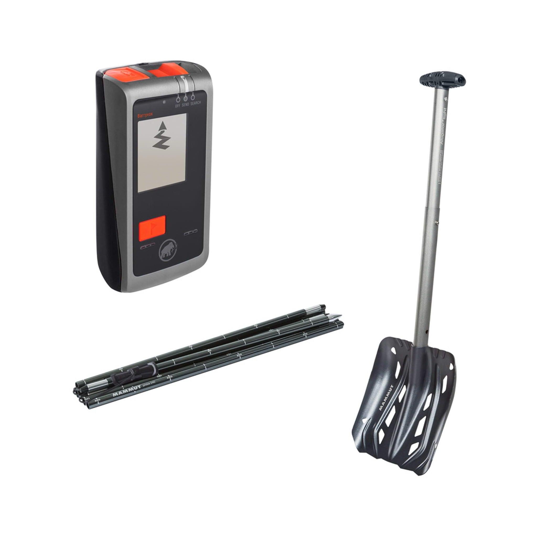 Sender/mottaker med 3 antenner, superlett spade og lett og kort sammenslått søkestang