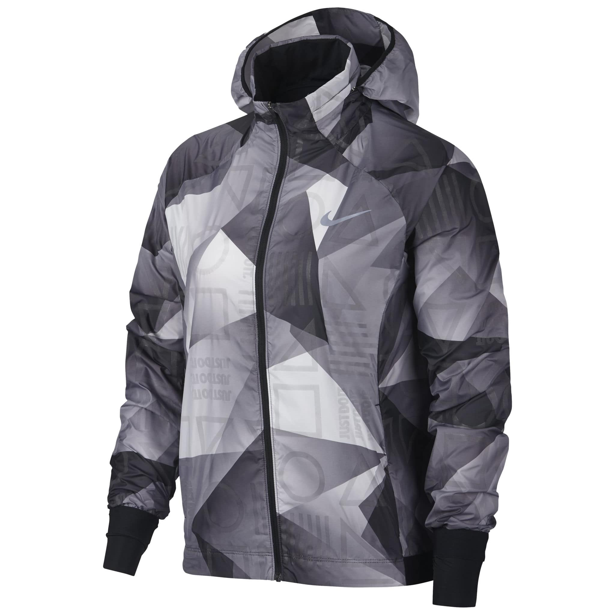 Shield Hooded Printed Running Jacket W